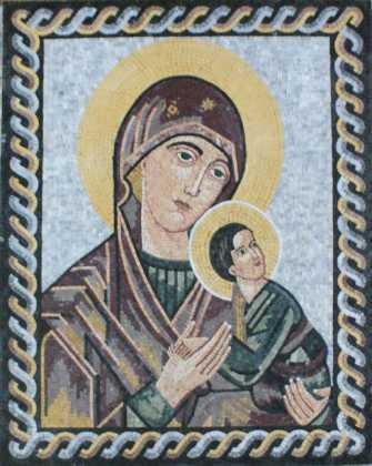 Blessed Virgin Mary with Baby Jesus Religious Mosaic