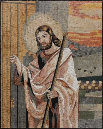 Jesus at the Door Religious Wall Art Mosaic