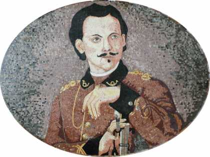 FG839 Old Commander Spanish Portrait Marble Mosaic