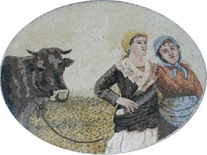 FG866 Country Life Two Peasants Bumpkins  Mosaic