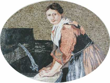 FG869 Old Lady Doing The Laundry Wall Hanging  Mosaic