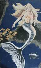 FG894 Beatiful Blonde Mermaid Long Hair Ocean Marble Mosaic