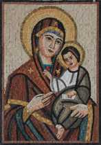 Mother Mary Holding Baby Jesus Christian Art  Mosaic