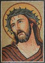 Portrait of Jesus with Crown of Thorns Religious Mosaic