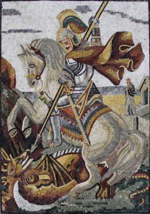 FG972 Saint on Horse Stabbing Dragon Mosaic