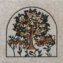 Arched Tree of Life in Cream Surrounding Mosaic
