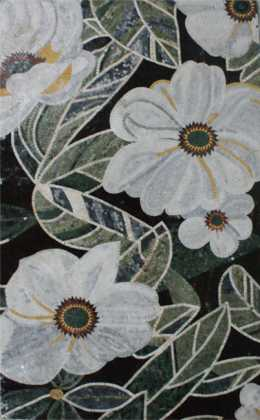 FL840 Exquisite White Flowers Artistic Home  Mosaic