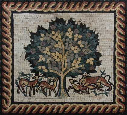 FL933 Famous Tree Of Life Animals Rope Border