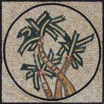 FL938 Rounded Geometrical Triple Palm Trees  Mosaic