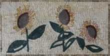 FL958 Handmade Sunflowers Art Home Decor Marble Mosaic