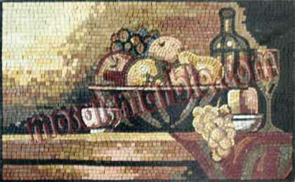 Fruit Bowl & Wine Art Kitchen Backsplash Mosaic