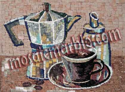 Kettle & Coffee Cup Kitchen Backsplash Mosaic