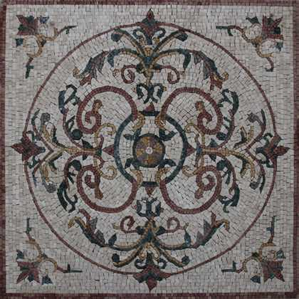 GEO1198 Circular Abstract Floral Floor Carpet  Mosaic