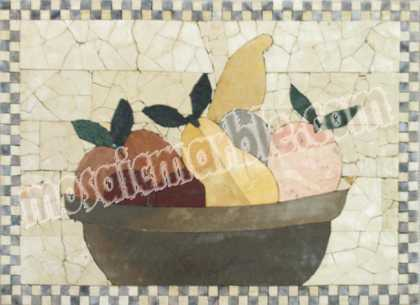Simple Fruit Bowl Checker Border Backsplash Mosaic