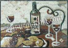 GEO1377(Polished) Wine Bottle and Glasses Marble Mosaic