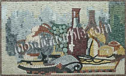 Wine & Appetizers Still Life Kitchen Backsplash  Mosaic