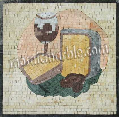 Cheese & Wine Art Minimal Kitchen Backsplash Mosaic
