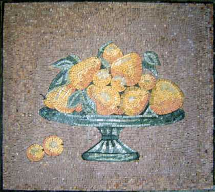 Fruits in Bowl Still Life Kitchen Backsplash  Mosaic