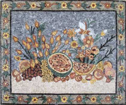 Fruits Still Life Floral Border Kitchen Backsplash Mosaic