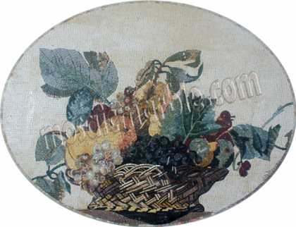 Fruit Bowl Still Life Oval Kitchen Backsplash Mosaic