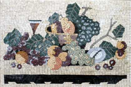 Fruits & Wine Still Life Rectangle Backsplash Mosaic
