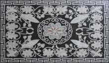 Floral Rectangular Floor Inlay Mini Rug Mosaic