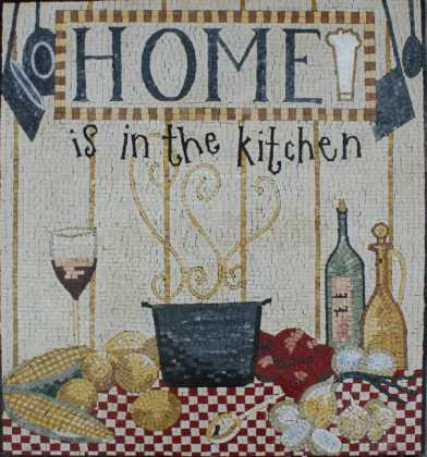 Home is in the Kitchen Wall Backsplash Mosaic