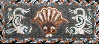 GEO231 Faded white dolphins and sea shell Mosaic