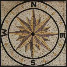 Yellow and Cream Square Compass Mosaic