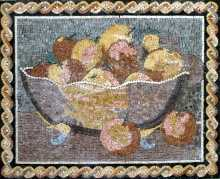 GEO251 Fruit Basket Kitchen Diner Decor Marble Mosaic