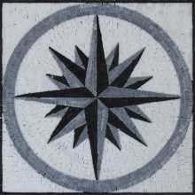 Floor Medallion Compass Black & White Star  Mosaic