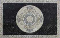 Exquisite Black Rectangle Central White Circle Mosaic