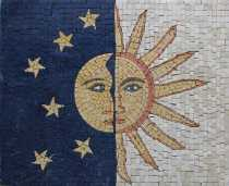 Sun and Moon Stones Faces Calm Decor Mosaic