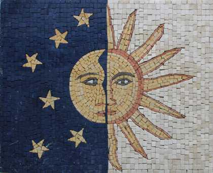 GEO2640 Sun and Moon Stones Faces Calm Decor  Mosaic