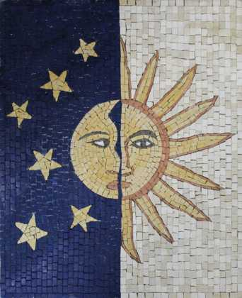 GEO2641 Sun and Moon Stones Faces Vertical  Mosaic