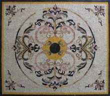 GEO2695 Synthetic Yellow Class Rug Handmade Marble Mosaic