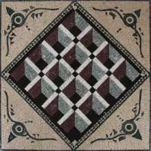 GEO2707 Optical Illusion 3D Squares Handmade Marble Mosaic