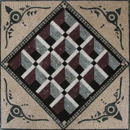 GEO2707 Optical Illusion 3D Squares Handmade  Mosaic