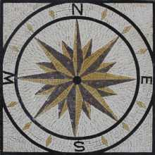 Marble Medallion Compass in Square Garden  Mosaic
