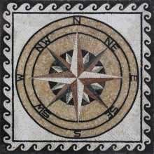Marble Medallion Onyx Compass in Square Mosaic