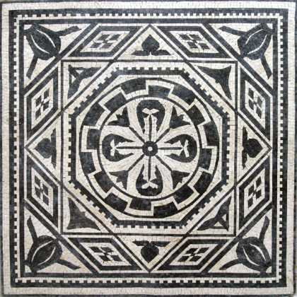Black & White Geometric Square Floor Mosaic