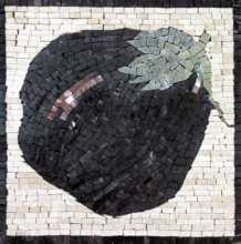 Large Black Eggplant Kitchen Backsplash Mosaic