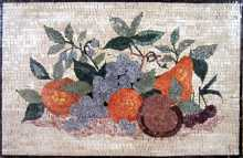 Purple Grapes & Oranges Kitchen Backsplash Mosaic