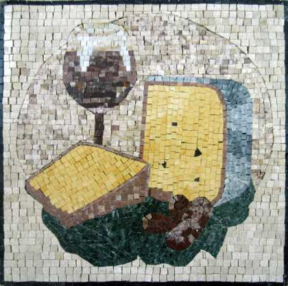 Cheese & Wine Still Life Square Backsplash Mosaic