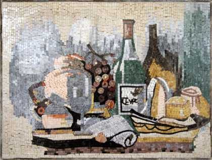 Cheese & Wine Bottles Still Life Backsplash Mosaic