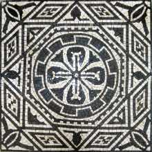 Black & White Square Geometric with Cross Mosaic