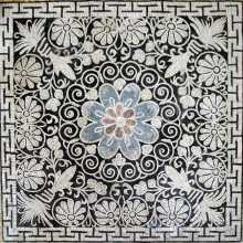 Black & White Floral Blue & Red Central Flower Mosaic