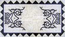 Black & White Rectangular Geometric with Vines Mosaic