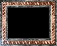 Red Spiral Squares Mirror Border