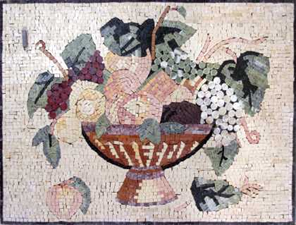 Light-Colored Fruit Bowl Still Life Backsplash Mosaic